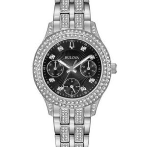Bulova Crystal Stainless Steel Watch